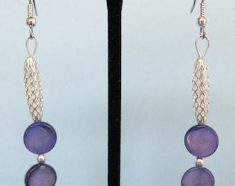 Blue Mother of Pearl Open Weave Drop Earrings
