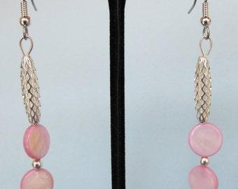 Lavender Mother of Pearl Open Weave Drop Earrings