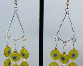 Yellow Millefiori and Freshwater Pearl Kite Chandelier Earrings