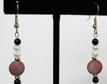 Pearl, Black Onyx and Cocoa Mother of Pearl Earrings