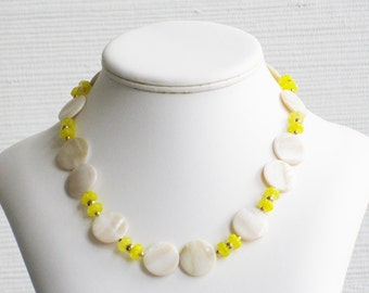 Cream Mother of Pearl and Yellow Glass Flower Choker
