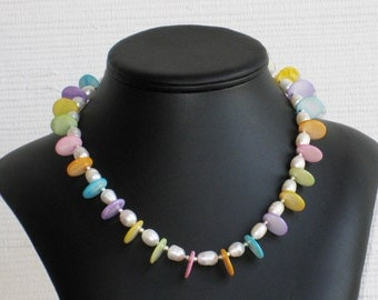 Freshwater Pearl and Mother of Pearl Disc Necklace