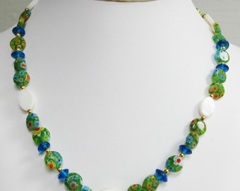 Green Millefiori and Mother of Pearl Oval Necklace