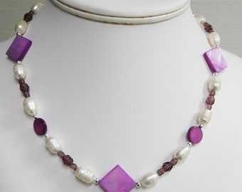 Faceted Glass Bead and Purple Mother of Pearl Necklace