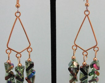Rainbow AB Chevron Glass Chandelier Earrings