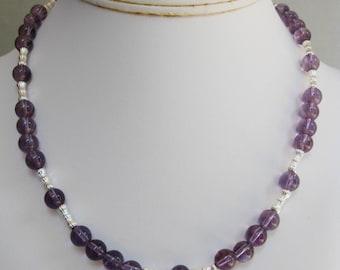 Amethyst Round Bead Necklace
