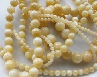 12mm Yellow Calcite Round Beads - 16 inch strand