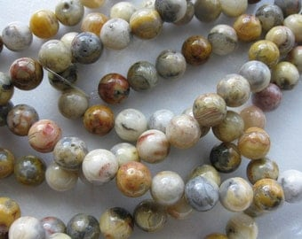 6mm Crazy Lace Agate Round Beads - 16 inch strand