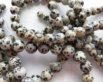 4mm Dalmation Jasper Round Beads - 16 inch strand