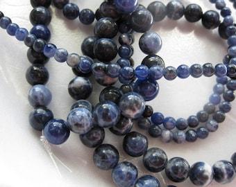 6mm Dark Blue Sodalite Round Beads - 16 inch strand
