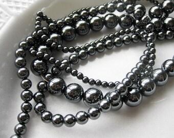 4mm Hematite Round Beads - 16 inch strand