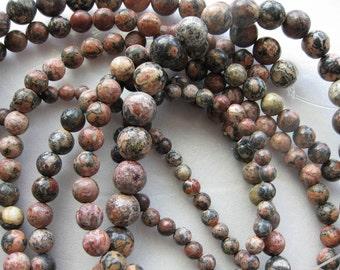 8mm Leopardskin Jasper Round Beads - 16 inch strand