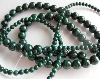6mm Malachite Round Beads - 16 inch strand