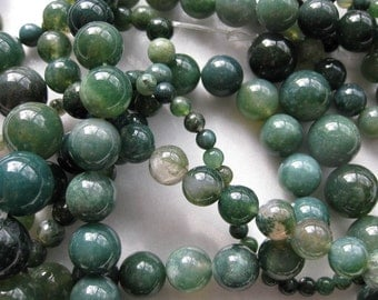10mm Moss Agate Round Beads - 16 inch strand