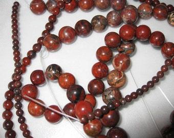 8mm Poppy Jasper Round Beads - 16 inch strand