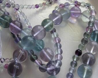 8mm Rainbow Fluorite Round Beads - 16 inch strand