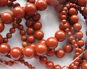 6mm Red Jasper Round Beads - 16 inch strand