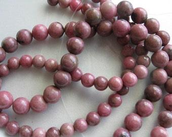 8mm Rhodonite Round Beads - 16 inch strand