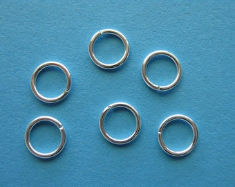 Pkg 100 8mm Silver Plated Round Open Jumprings - 18ga