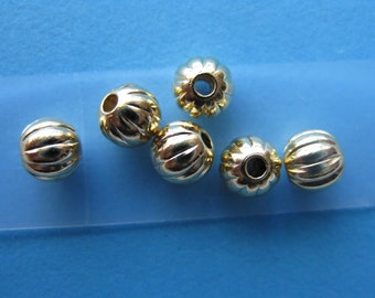 Pkg 100 5mm Gold Plated Corrugated Round Beads