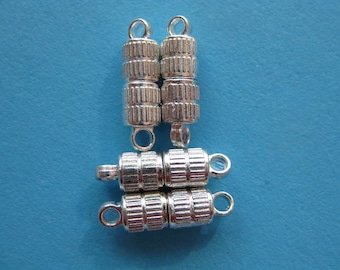 Pkg of 5 Silver Plated Corrugated Magnetic Clasps (16x5mm)