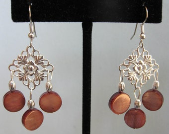 Brown Mother of Pearl Floral Chandelier Earrings