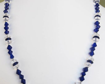 Blue Bicone & Clear Rondelle Glass Bead Necklace