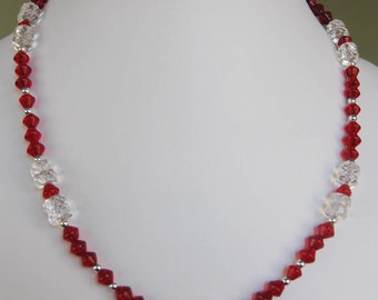 Red Bicone & Clear Faceted Rondelle Glass Bead Necklace