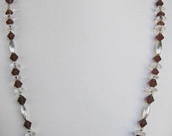 Purple Bicone & Clear Glass Rondelle Necklace