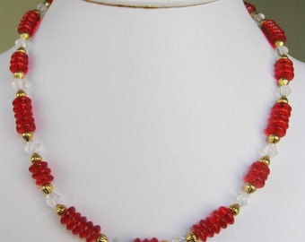 Clear Bicone & Red Glass Rondelle Necklace