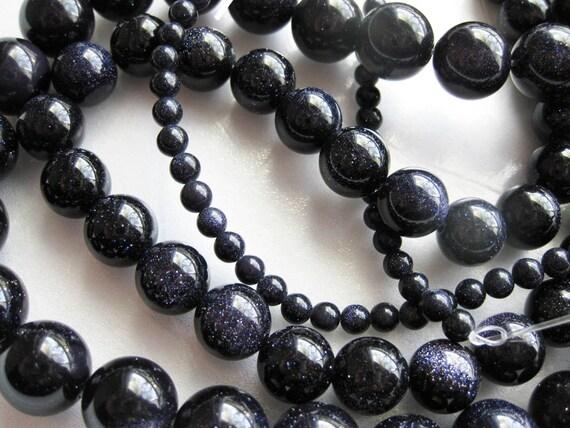8mm Blue Goldstone Round Beads - 16 inch strand