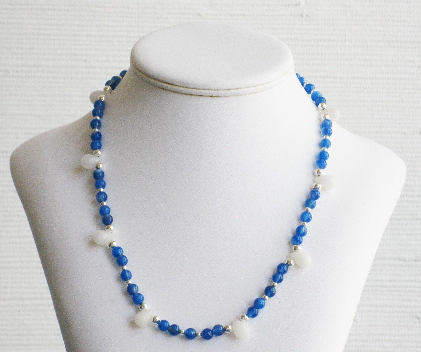 Teardrop Beads: Blue Agate And Quartz Teardrop Bead Necklace