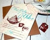Tea Bag Tea Party Invitation, Vintage Invitation, Unique Invitation, Tea Party Invitation, Fancy Invitation, Teapot Invitation