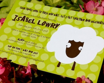 Sheepish Baby Shower Invitation