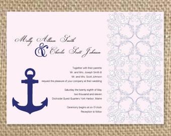 Nautical Pattern Wedding Invitation, Anchor Wedding Invite, Pattern Wedding Invite, Nautical Wedding, Modern Wedding, Classic Wedding