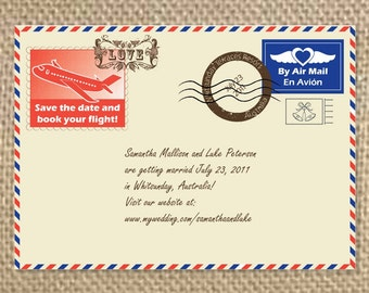 Airmail Save the Dates, Postcard Invitation, Wedding Invitation, Vintage Invitation, Stamps, Mail, Travel Invitation, Classic Invitation