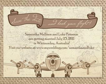 Destination Save the Dates, Postcard Invitation, Travel Invitation, Airplane, Airmail, Vintage Invitation, Vintage Save the Date
