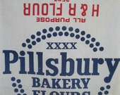 EXTRA Large Flour Sack - 100 lbs, Pillsbury Bakery Flours - All Purpose H & R Flour - Red and Blue Print