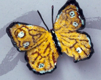 Yellow and White Butterfly Enameled Critter Pin