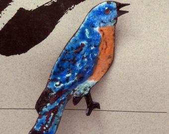Bluebird Enameled Critter Pin