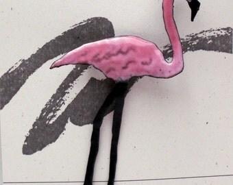 Pink Flamingo Enameled Critter Pin