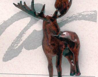 Moose Enameled Critter Pin