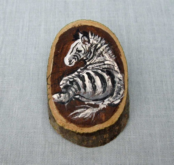 Wood Slice Brooch Zebra