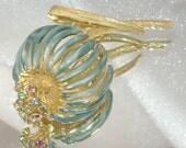 Trembler Aqua Enamel Fantasy Flower with Multicolor Rhinestones Vintage Brooch signed Castlecliff