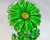 Vintage Flower Brooch Mod Flower Power Bright Green