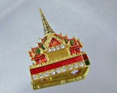 Vintage Palace Brooch.  Asian Palace.  Forbidden City.  Red Green Enamel.  Rhinestones.