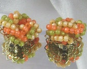 Vintage Earrings Beads Green and Peach Beaded