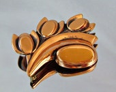Vintage Copper Tulips Brooch