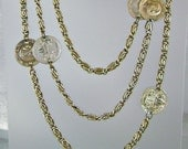 "Vintage Coin Necklace 64"" Goldtone Scroll Link Austro-Hungarian"