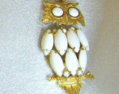 Vintage Pendant Owl Huge Milk Glass Articulated Retro